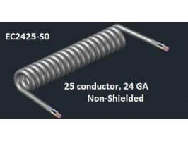 Electronic Coiled Cord | 24 Gauge with 25 Conductors | No Shield