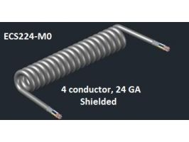 Electronic Coiled Cord | 22 Gauge with 4 Conductors | Aluminum  Shielded