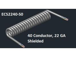 Electronic Coiled Cord | 22 Gauge with 40 Conductors | Aluminum  Shielded