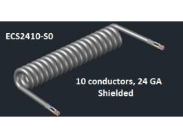 Electronic Coiled Cord | 24 Gauge with 10 Conductors | Aluminum Shielded