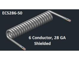 Electronic CoiledCord | 28 Gauge with 6 Conductors | Aluminum Shielded